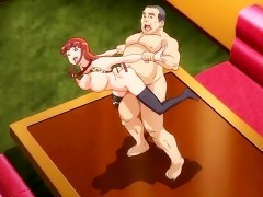 Lusty big titted whore gets her anime boobs bouncing when the fat man is diddling her from behind
